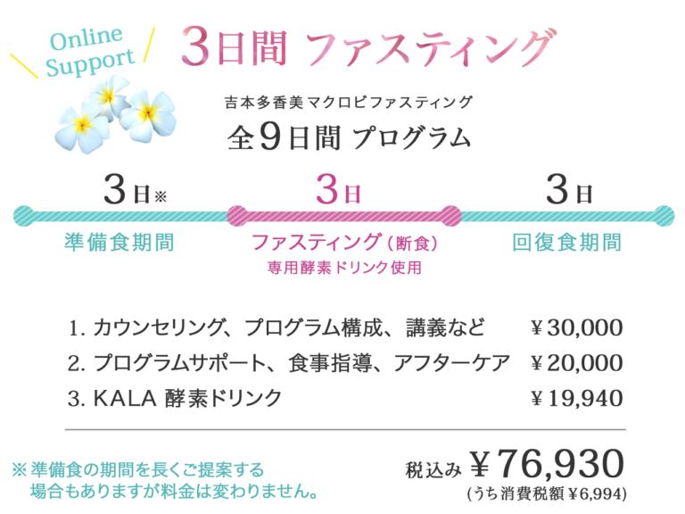 ファスティング3日 全9日間プログラム 76,930円税込